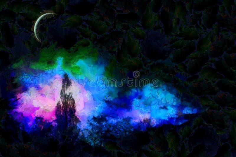En el claro de luna ilustración del vector