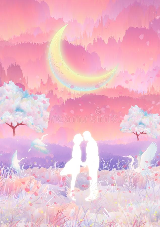 En el claro de luna, los pares de las flores de cerezo se besan y abrazan ilustración del vector