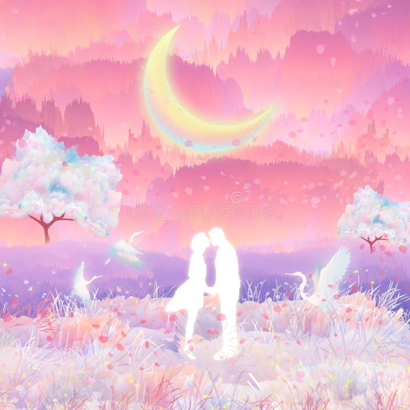 En el claro de luna, los pares de las flores de cerezo se besan y abrazan stock de ilustración