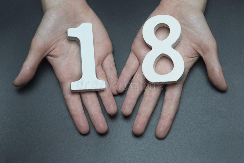 En el cuadro femenino dieciocho de las palmas imágenes de archivo libres de regalías