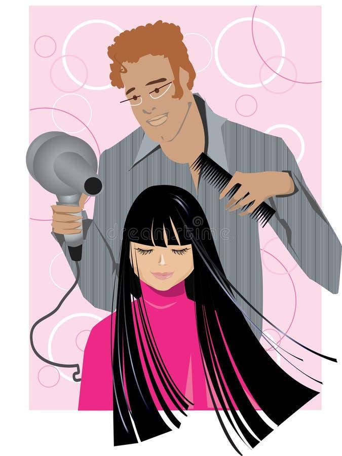 En el departamento de peluquero ilustración del vector