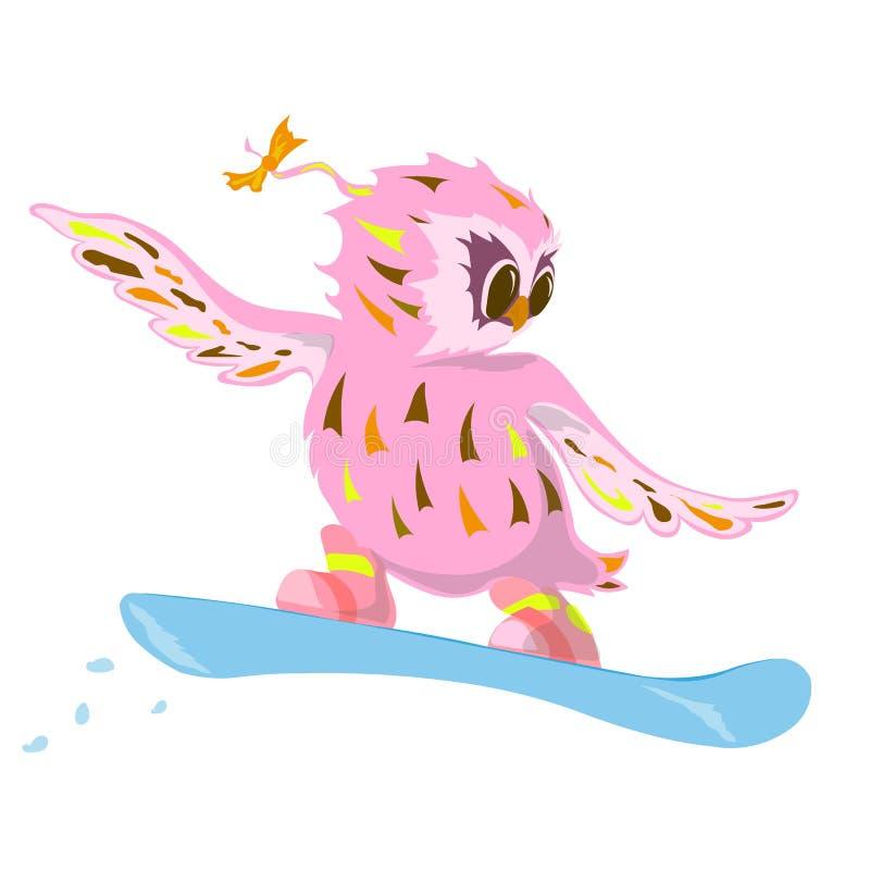 En el estilo de búho acomete en una snowboard en la nieve fotos de archivo