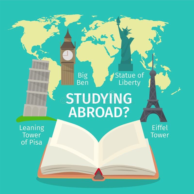 En el extranjero estudiar concepto de los idiomas extranjeros Ejemplo plano del estilo del vector colorido del viaje stock de ilustración