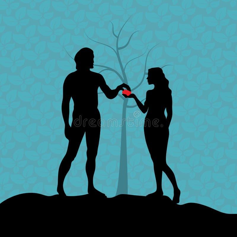En el jardín de Eden, Eve da a Adán la fruta prohibida La caída stock de ilustración