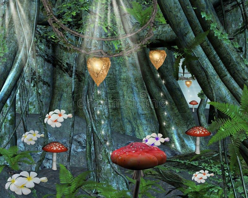 En el medio del bosque secreto ilustración del vector