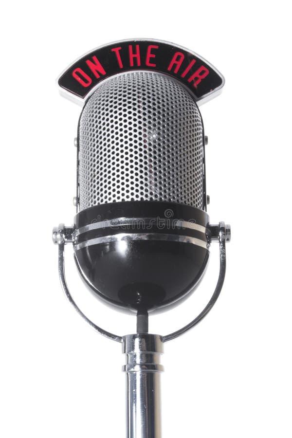 En el micrófono del aire imagen de archivo libre de regalías