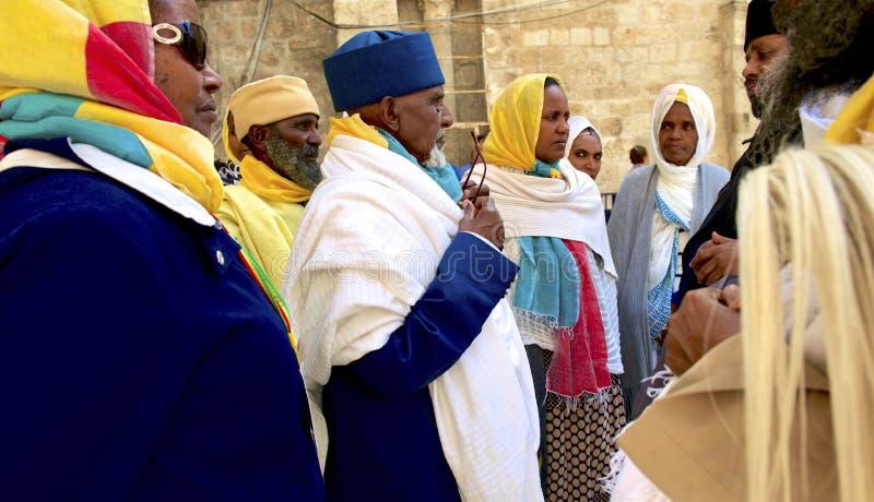 En el monasterio etíope en ciudad vieja del ` s de Jerusalén imagen de archivo