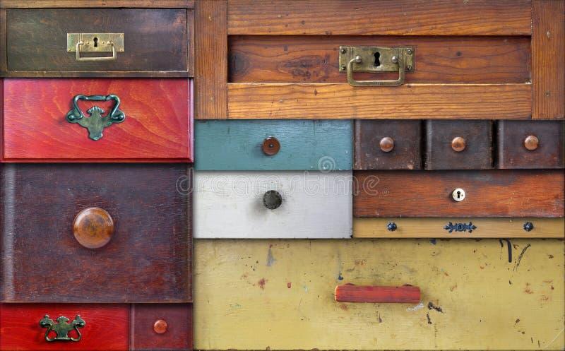 En el secreto completo - diversos cajones foto de archivo