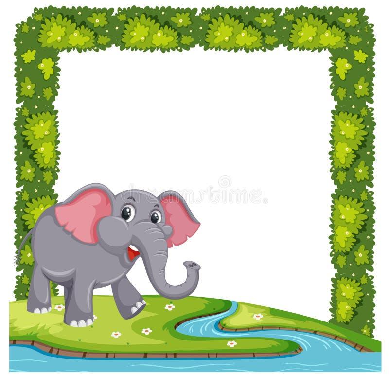 En elefant på växtram royaltyfri illustrationer