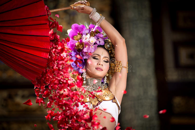En elegant Lanna kvinna ChiangMai norr Thailand arkivbilder