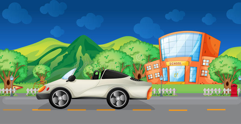 En elegant sportbil på vägen vektor illustrationer