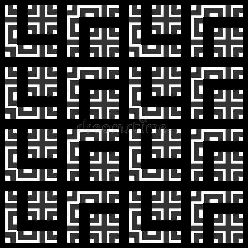 En elegant svartvit vektormodell, geometriska fyrkanttegelplattor stock illustrationer