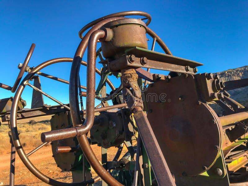 En Element of abandoned rusty grader on a way to Toroweap, Arizona. USA royalty free stock photo