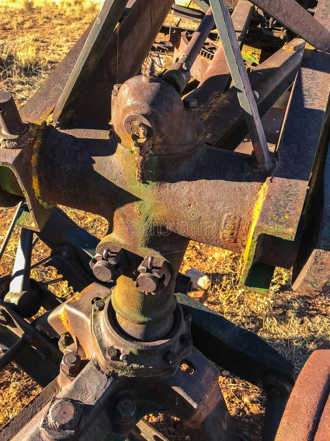 En Element of abandoned rusty grader on a way to Toroweap, Arizona. USA royalty free stock photography