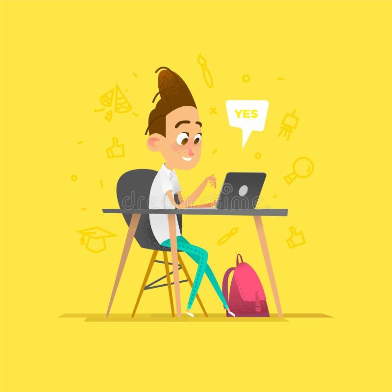 En elev som ska studeras i ett klassrum royaltyfri illustrationer