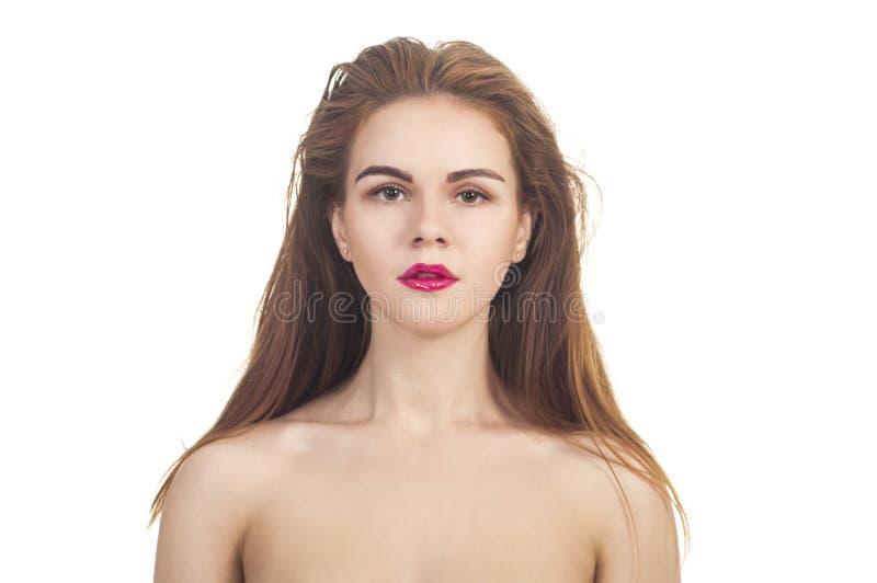 En emotionell stående, en naken flicka på en vit bakgrund royaltyfria foton