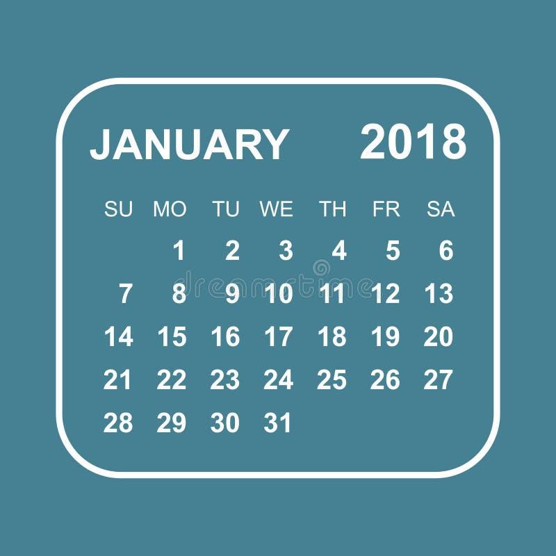 En Enero De 2018 Calendario Plantilla Del Diseño Del Planificador ...