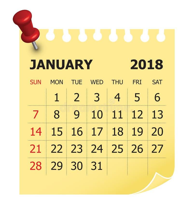 En enero de 2018 ejemplo del vector del calendario stock de ilustración