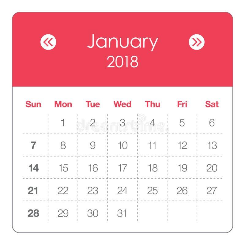 En enero de 2018 ejemplo del vector del calendario libre illustration
