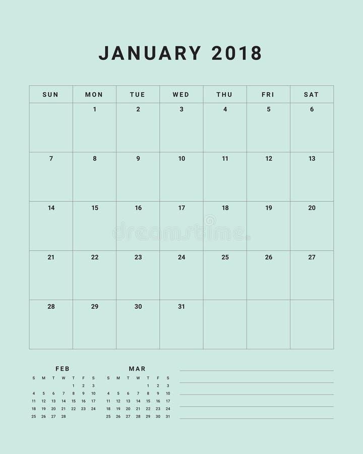 En enero de 2018 ejemplo del vector del calendario de escritorio stock de ilustración