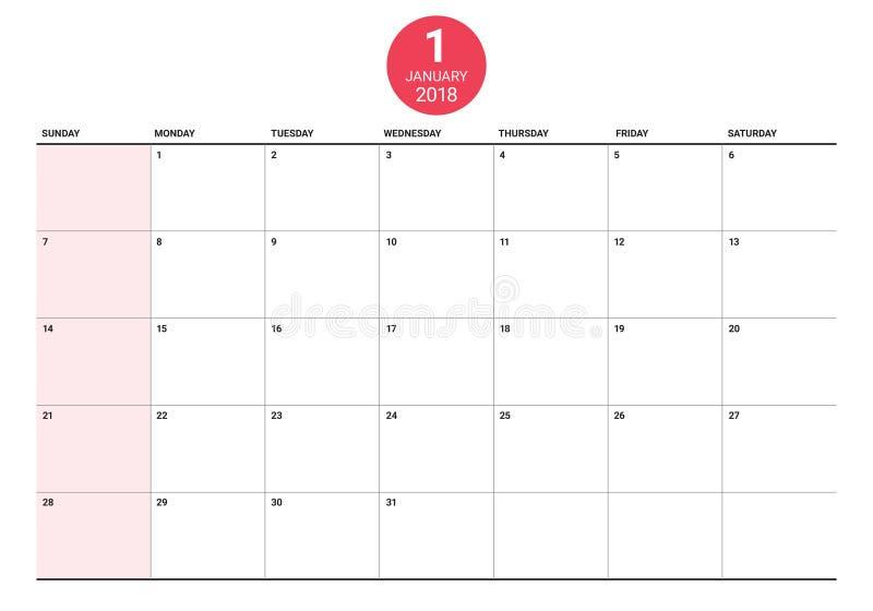 En enero de 2018 ejemplo del vector del planificador del calendario libre illustration