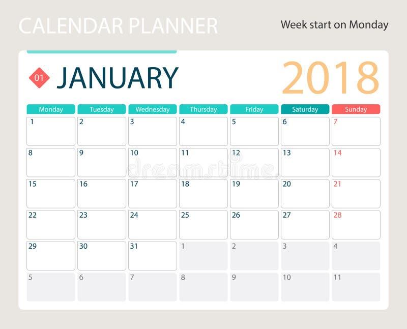 en enero de 2018, el calendario o el planificador del escritorio, semanas del vector del ejemplo comienza el lunes stock de ilustración