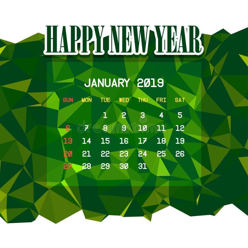 En enero de 2019 plantilla del calendario libre illustration