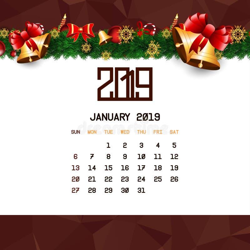 En enero de 2019 plantilla del calendario stock de ilustración