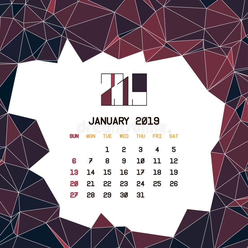 En enero de 2019 plantilla del calendario ilustración del vector