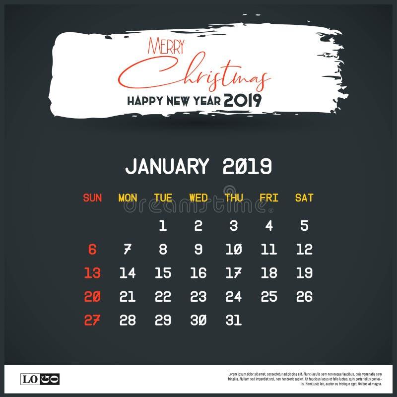 En enero de 2019 plantilla del calendario del A?o Nuevo Fondo del jefe del movimiento del cepillo ilustración del vector