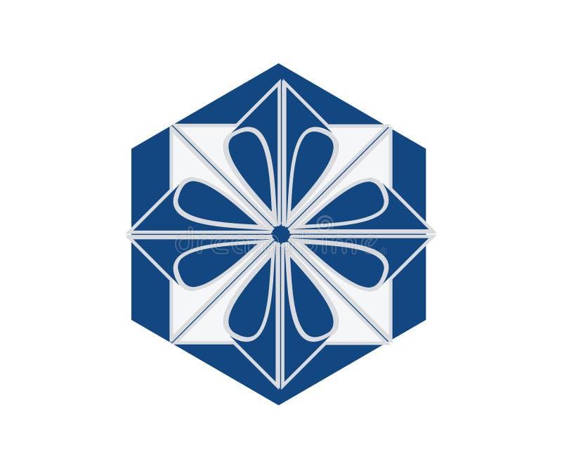 En enkel abstrakt bild av en logo för bokstav x inom en sexhörning stock illustrationer