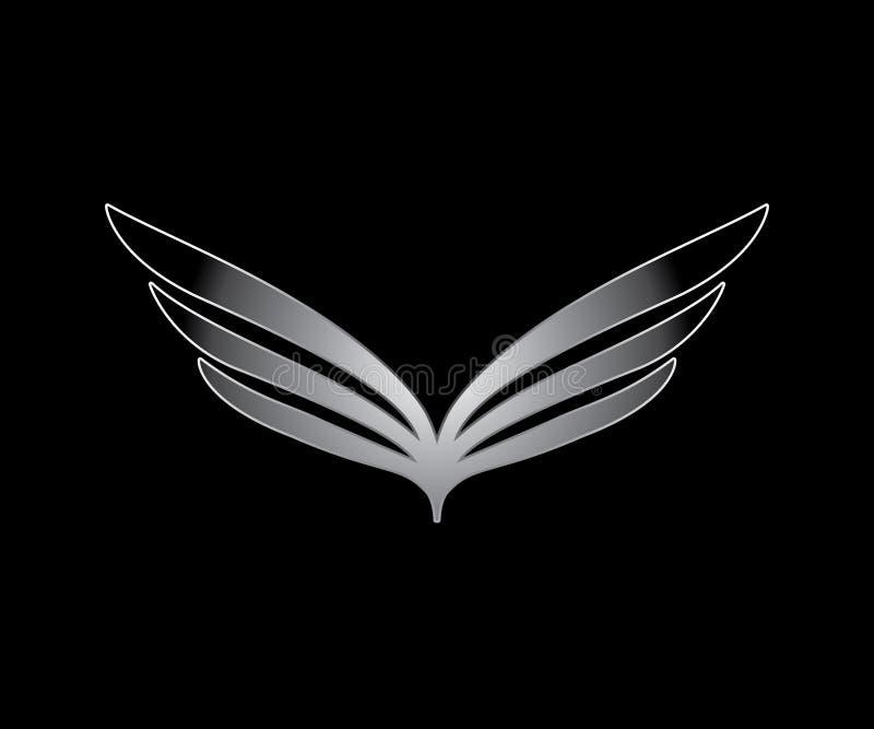 En enkel abstrakt bild av vingar i silverfärg stock illustrationer