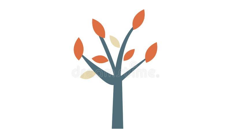 En enkel abstrakt logo av ett träd med orange sidor royaltyfri illustrationer