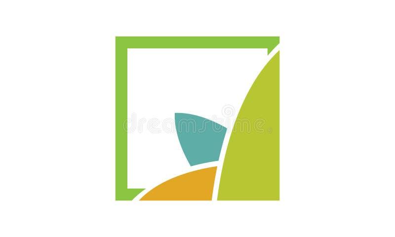 En enkel abstrakt logo av sidor i fyrkant stock illustrationer