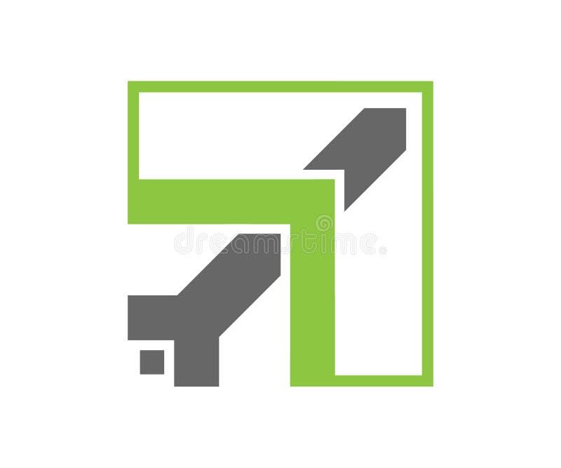 En enkel abstrakt symbol av nivån i grönt och grått stock illustrationer