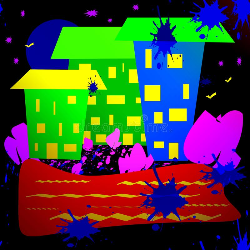 En enkel bild av en nattstad royaltyfri illustrationer