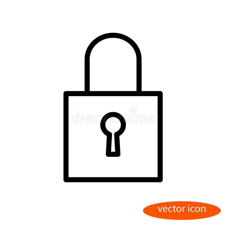 En enkel linjär bild av en stängd hänglås med ett nyckel- hål, en linje symbol, en plan stil royaltyfri illustrationer