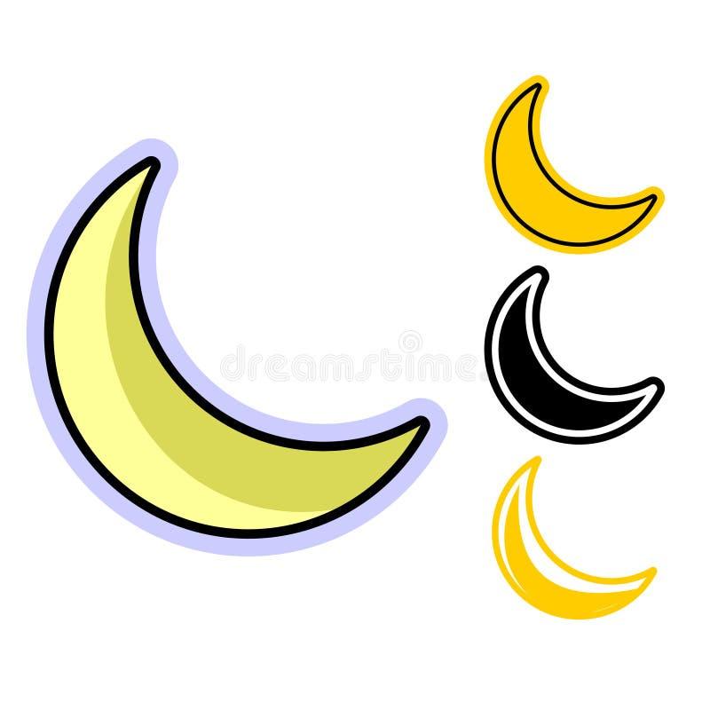 En enkel plan symbol av halvmånen i flera variationer stock illustrationer