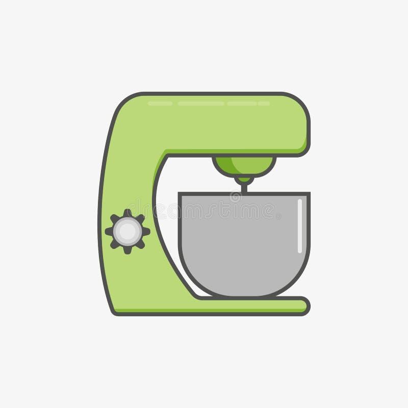 En enkel plan symbol för att kökmaskinen ska fluffa och som blandar olik mat vektor illustrationer