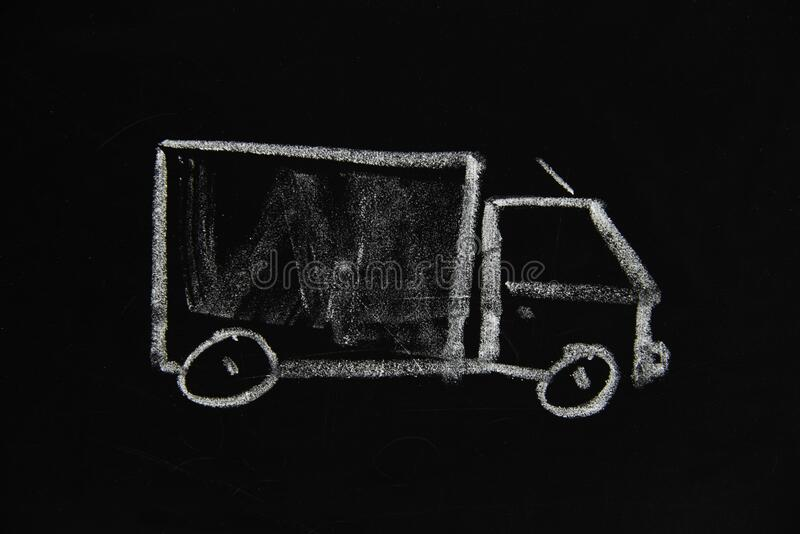 En enkel skiss av en lastbil royaltyfri fotografi