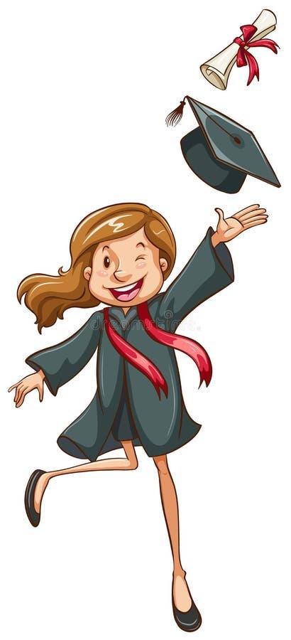 En enkel teckning av lyckligt avlägga examen för flicka royaltyfri illustrationer