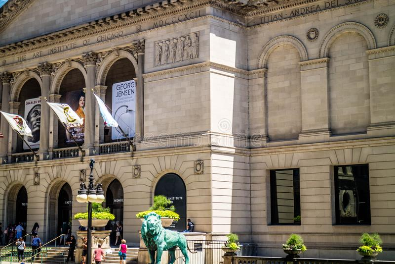 En enorm offentlig konstmusem i Chicago, Illinois fotografering för bildbyråer