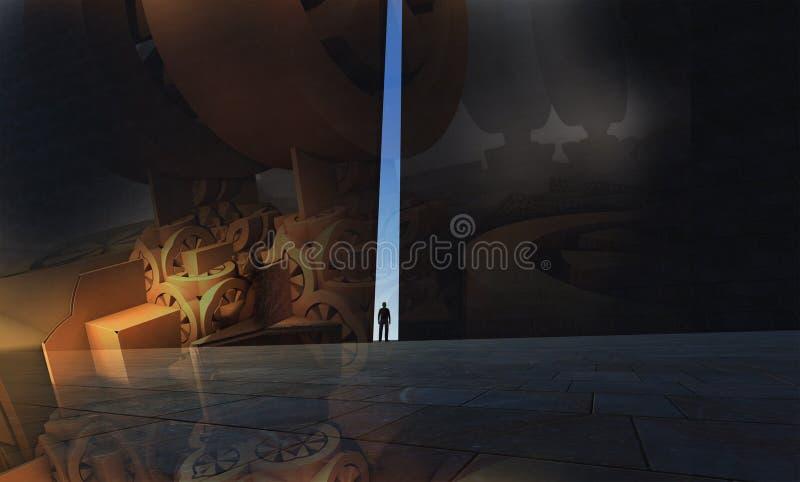En ensam person som igenom går royaltyfri illustrationer