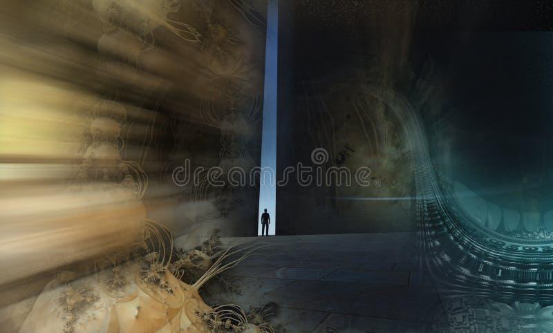En ensam person som igenom går vektor illustrationer
