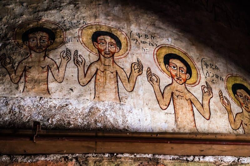 En ethiopian kyrka som finnas nära Gorgora mellan Bahir Dar och Gondar, Etiopien royaltyfri bild