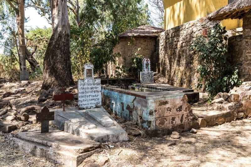 En ethiopian kyrka som finnas n?ra Gorgora mellan Bahir Dar och Gondar, Etiopien royaltyfri bild