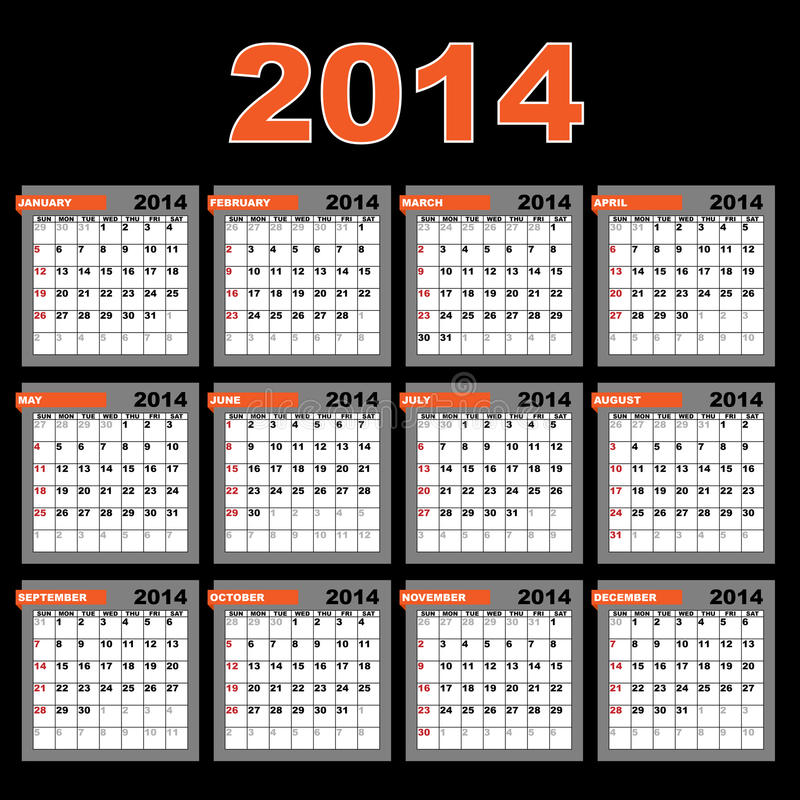 kalender 2014 stock illustrationer