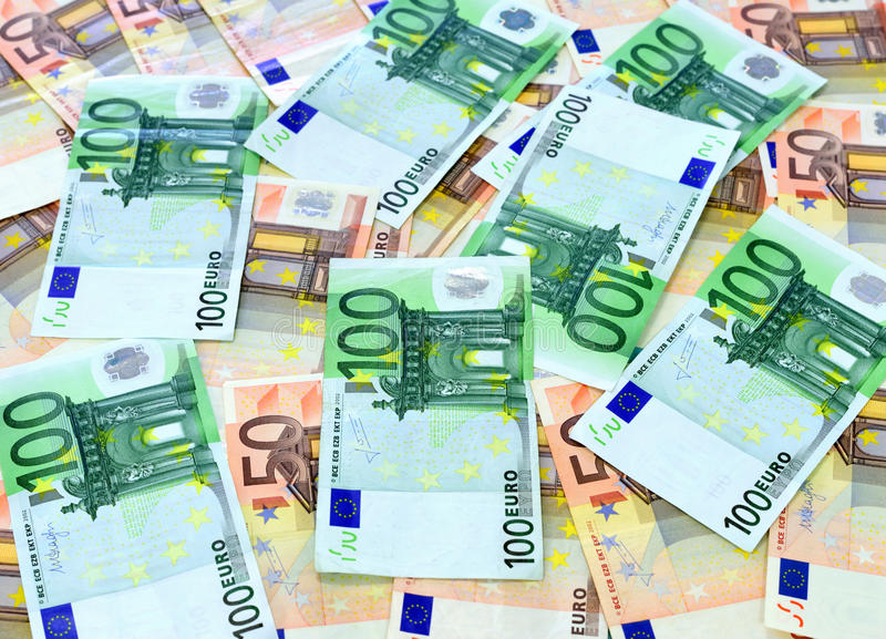 100 en 50 euro rekeningen royalty-vrije stock foto's