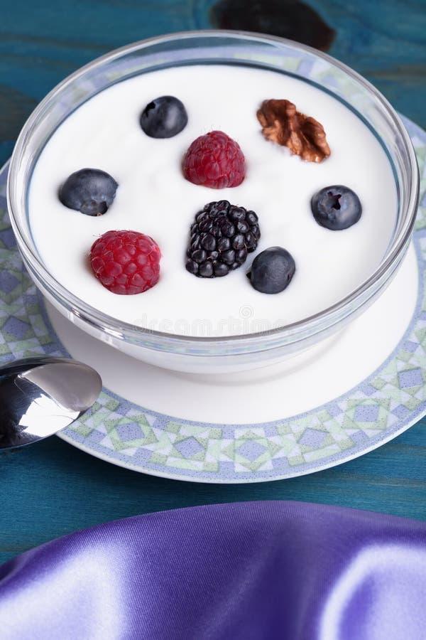 En exponeringsglasbunke med yoghurt och bär arkivbild