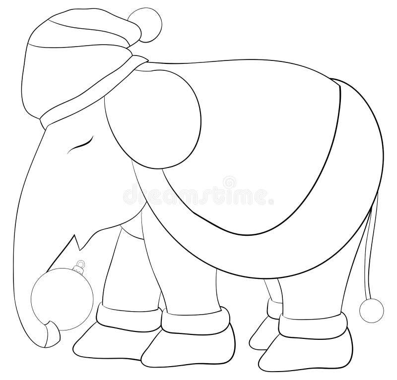 En färga bok, sida bära för elefant jul lock, halsduk stock illustrationer